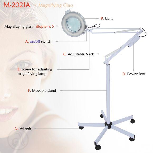 Uveličavajuća kozmetička lupa M-2021A sa stalkom i neonskim osvetljenjem