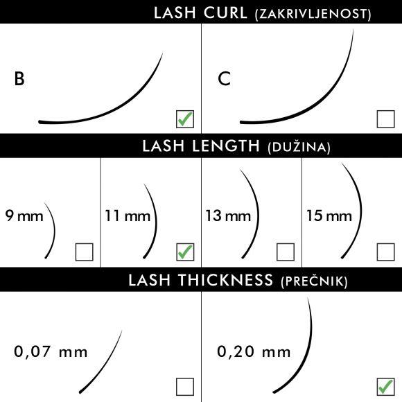 Svilene trepavice za nadogradnju BLUSH B-Kriva 11mm