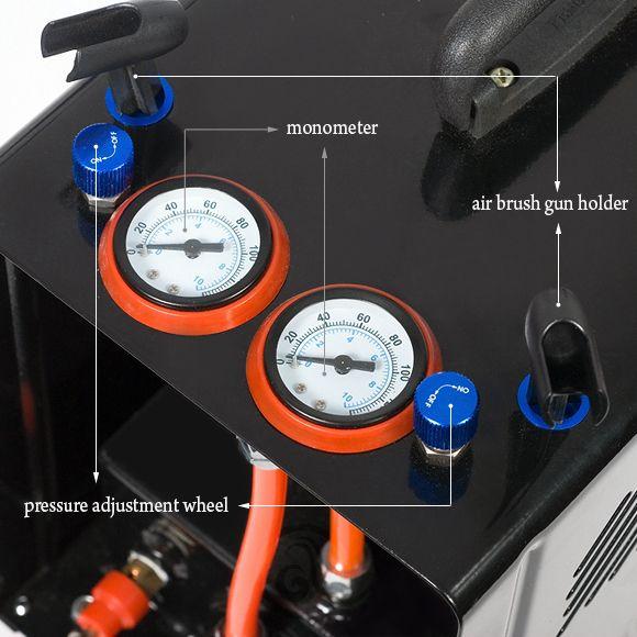 Klipno/bezuljni kompresor za airbrush AS188 sa dva izlaza i rezervoarom od 3l