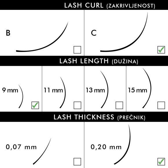 Svilene trepavice za nadogradnju BLUSH C-Kriva 9mm