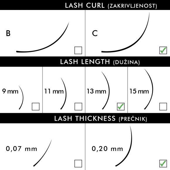 Svilene trepavice za nadogradnju BLUSH C-Kriva 13mm