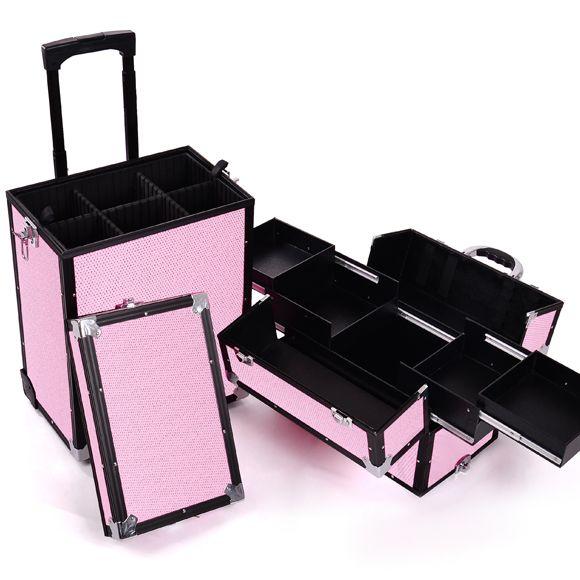 Kozmetički kofer za alat i pribor GALAXY TC-3270PGS rozi dvodelan sa točkićima