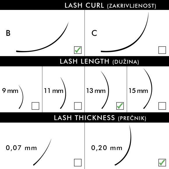 Svilene trepavice za nadogradnju BLUSH B-Kriva 13mm