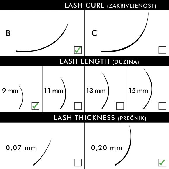 Svilene trepavice za nadogradnju BLUSH B-Kriva 9mm