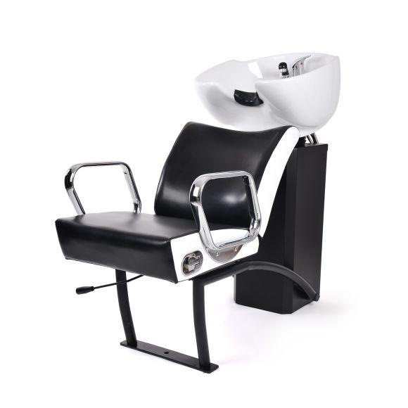 Keramička šamponjera za pranje kose NS-5515 sa podesivom stolicom Crno-bela