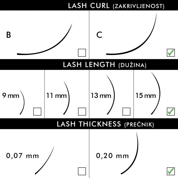 Svilene trepavice za nadogradnju BLUSH C-Kriva 15mm