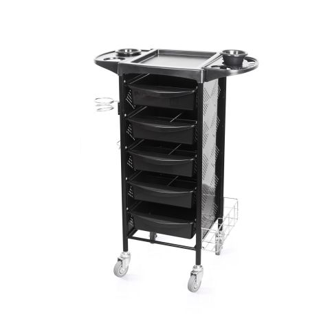 Frizerska pomoćna radna kolica za viklere i frizerski pribor M-3015B sa 5 fioka metalnim držačem za fen i multifunkcionalnom policom