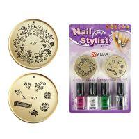 Set za Nail Art sa šablonima i lakovima za nokte TYPE11