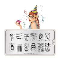 Stamping Nail Art Image Plate MOYOU Happy Birthday 01