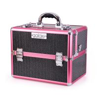 Beauty case for tools and accessories GALAXY TC-3329BP black-pink glitter design