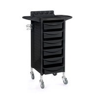 Trolley for hair salons A-068-1 with 6 drawers, metal holder for hair dryer and multi-functional shelf