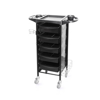 Trolley with Hair Salons M-3015B with 5 Drawers, Metal Holder for Hair Dryer and Multi-Functional Shelf